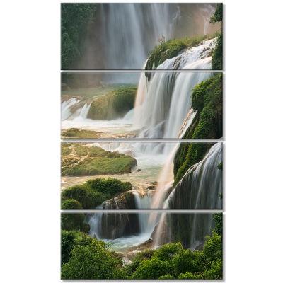 Design Art Detian Waterfall Landscape Photography Canvas Art Print - 4 Panels