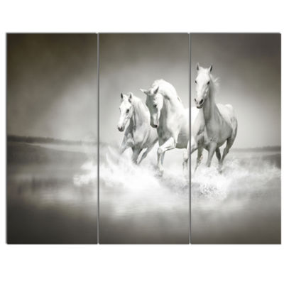 Design Art Horses Running Through Water Animal Wall Art - 3 Panels