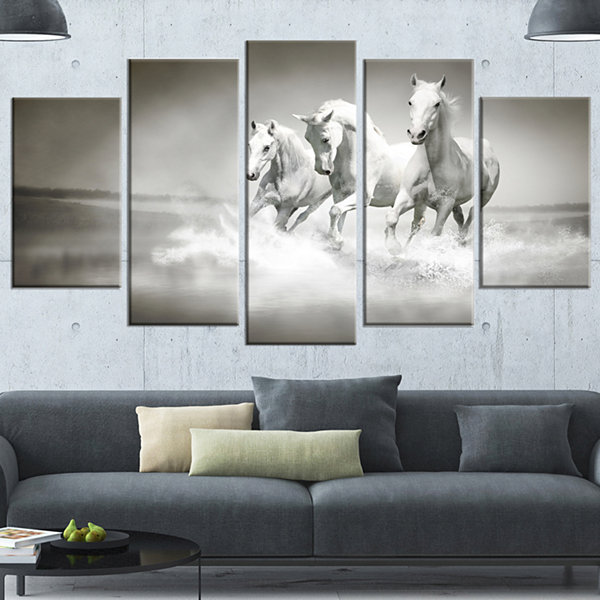 Design Art Horses Running Through Water Animal Wall Art - 5 Panels