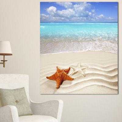 Designart Brown Starfish On Caribbean Beach Seascape Canvas Art Print