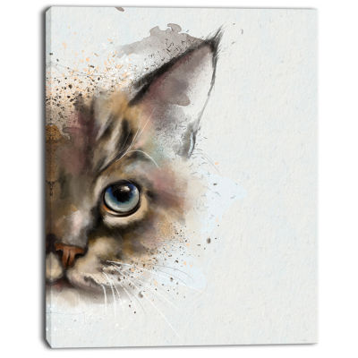 Design Art Cat Half Face Watercolor Animal Canvas Art Print