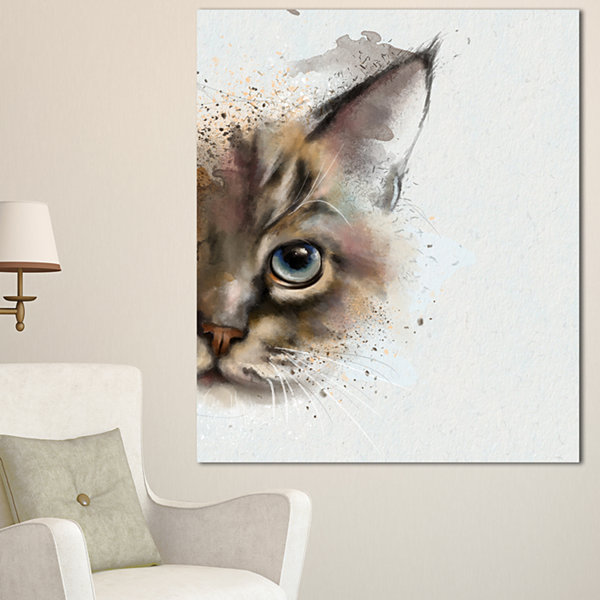 Designart Cat Half Face Watercolor Animal Canvas Art Print