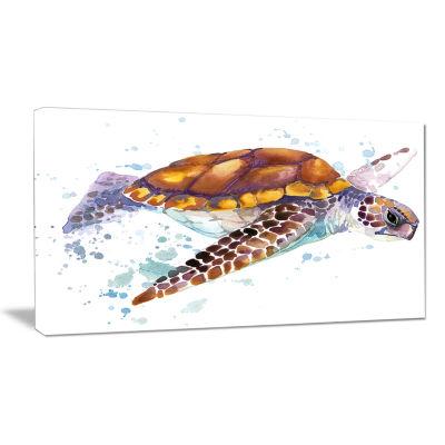 Designart Brown Sea Turtle Watercolor Contemporary Animal Art Canvas