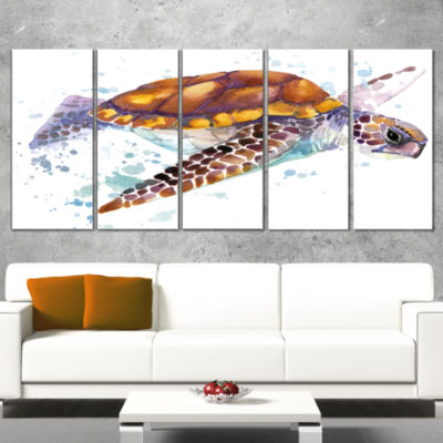 Design Art Brown Sea Turtle Watercolor Contemporary Animal Art Canvas - 5 Panels