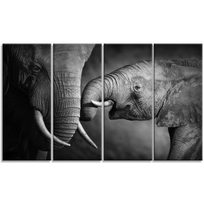 Designart Elephants Showing Affection Abstract Canvas Art Print - 4 Panels