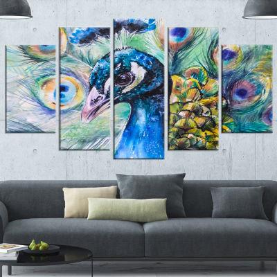 Designart Beautiful Peacock Watercolor Abstract Canvas Art Print - 5 Panels