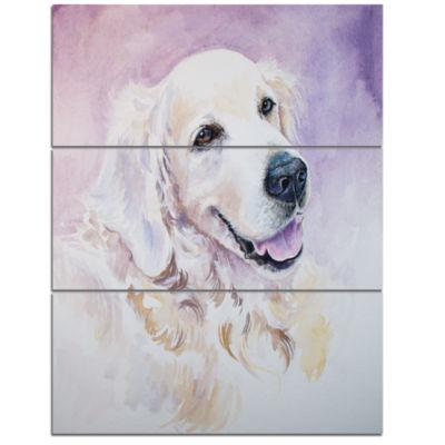 Designart Funny Golden Retriever Animal Canvas ArtPrint - 3 Panels