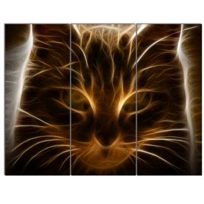 Designart Glowing Fractal Cat Illustration AnimalCanvas Wall Art - 3 Panels