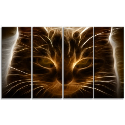 Designart Glowing Fractal Cat Illustration AnimalCanvas Wall Art - 4 Panels