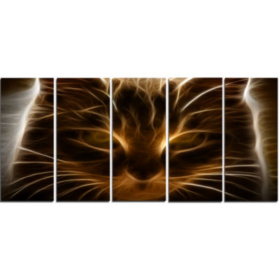 Design Art Glowing Fractal Cat Illustration Animal Canvas Wall Art - 5 Panels