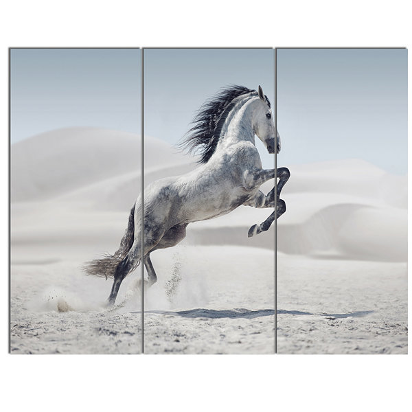 Design Art Galloping White Horse Animal Canvas Wall Art - 3 Panels