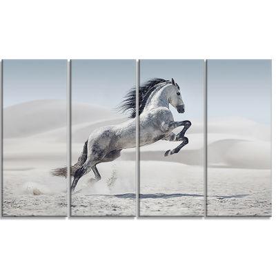 Designart Galloping White Horse Animal Canvas WallArt - 4 Panels