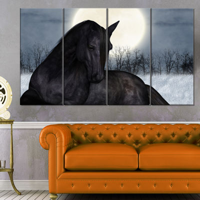 Designart Black Horse In Moonlight Animal Canvas Art Print - 4 Panels