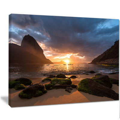 Designart Beautiful Sunrise In Red Seashore BeachCanvas Wall Art