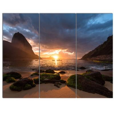 Design Art Beautiful Sunrise In Red Seashore Beach Canvas Wall Art - 3 Panels