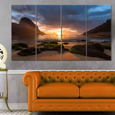 Designart Beautiful Sunrise In Red Seashore BeachCanvas Wall Art - 4 Panels