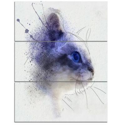 Design Art Blue Cat Face Watercolor Sketch Animal Canvas Artwork - 3 Panels