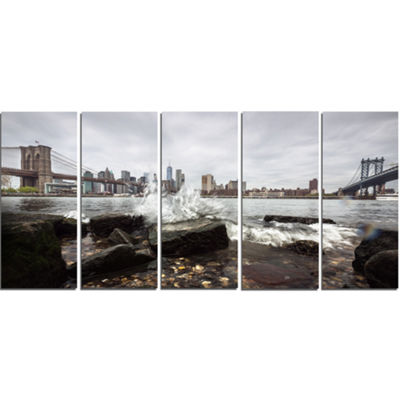Designart Skyline With Brooklyn Manhattan BridgesCityscape Canvas Art Print - 5 Panels