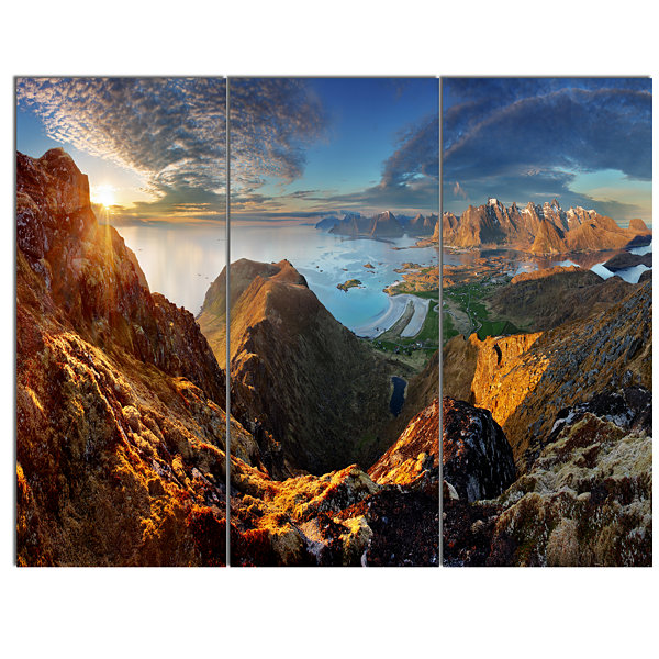 Designart Ocean And Mountains Panorama Landscape Canvas Art - 3 Panels