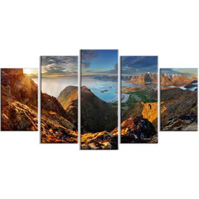 Designart Ocean And Mountains Panorama Landscape Canvas Art - 5 Panels
