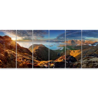 Design Art Ocean And Mountains Panorama Landscape Canvas Art - 6 Panels