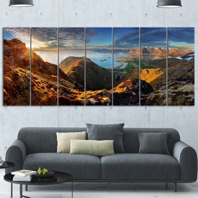 Designart Ocean And Mountains Panorama LandscapeCanvas Art - 7 Panels