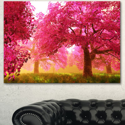 Designart Mysterious Red Cherry Blossoms LandscapeCanvas Art