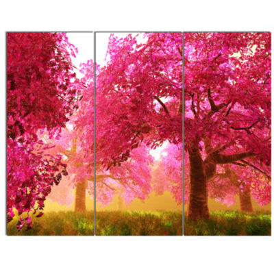 Designart Mysterious Red Cherry Blossoms LandscapeCanvas Art - 3 Panels