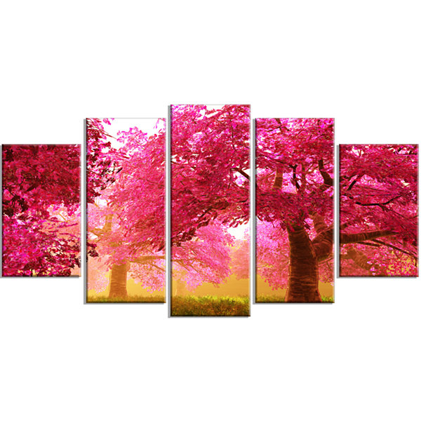 Designart Mysterious Red Cherry Blossoms LandscapeCanvas Art - 5 Panels