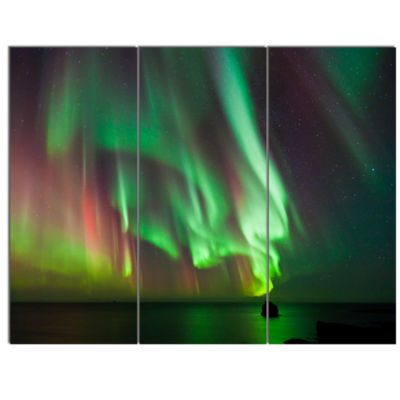 Designart Green Northern Lights Aurora Abstract Canvas Wall Art - 3 Panels