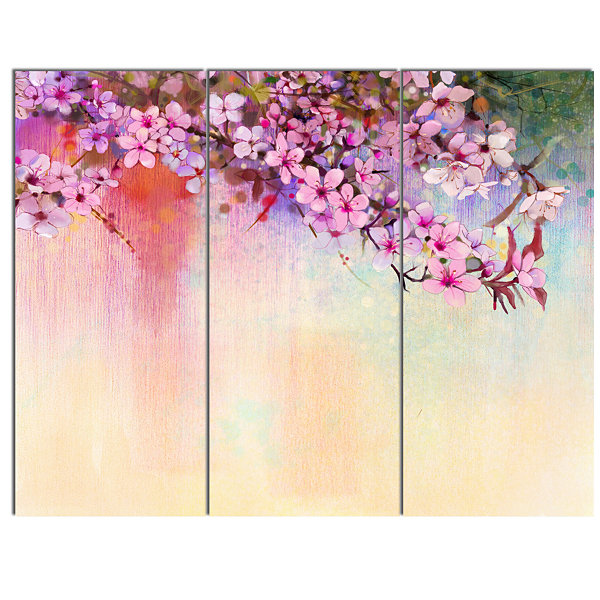 Designart Watercolor Painting Cherry Blossoms Floral Canvas Art Print - 3 Panels