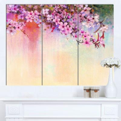 Designart Watercolor Painting Cherry Blossoms Floral Canvas Art Print - 3 Panels