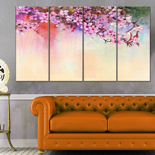 Design Art Watercolor Painting Cherry Blossoms Floral Canvas Art Print - 4 Panels