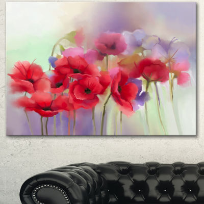 Design Art Watercolor Red Poppy Flowers Painting Canvas Artwork