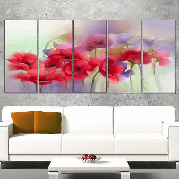 Design art watercolor red poppy flowers painting canvas artwork 5 designart watercolor red poppy flowers painting canvas artwork 5 panels mightylinksfo Image collections