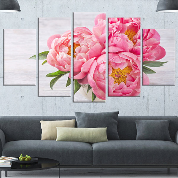 Design Art Bunch Of Peony Flowers In Vase (373) Canvas Art Print - 5 Panels