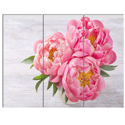 Designart Bunch Of Peony Flowers In Vase Canvas Art Print - 3 Panels