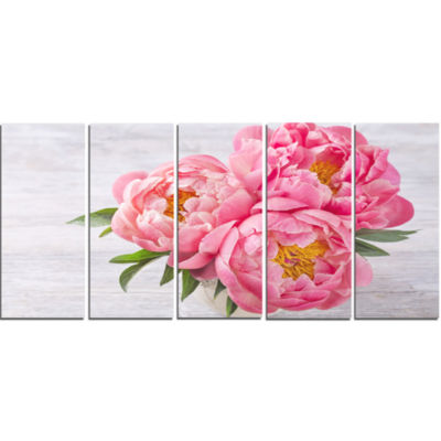 Designart Bunch Of Peony Flowers In Vase Canvas Art Print - 5 Panels
