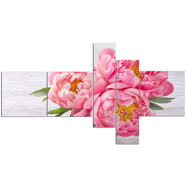 Design Art Bunch Of Peony Flowers In Vase Canvas Art Print - 5 Panels