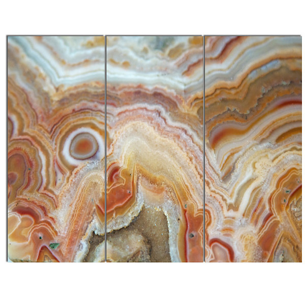 Designart Strips And Ovals On Agate Abstract Canvas Wall Art Print - 3 Panels
