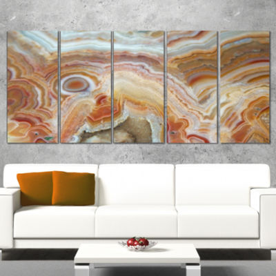 Design Art Strips And Ovals On Agate Abstract Canvas Wall Art Print - 5 Panels