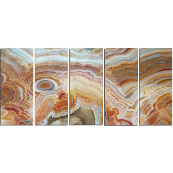 Designart Strips And Ovals On Agate Abstract Canvas Wall Art Print - 5 Panels