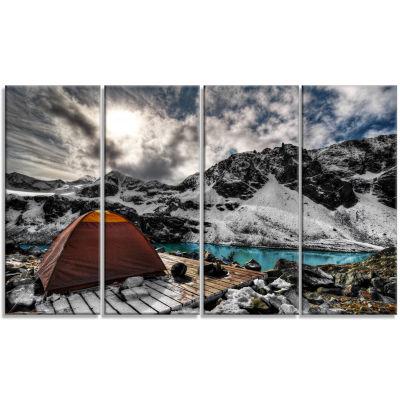 Designart Campsite Above Turquoise Lake LandscapeCanvas Art Print - 4 Panels