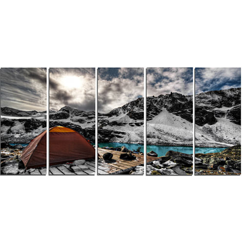 Design Art Campsite Above Turquoise Lake Landscape Canvas Art Print - 5 Panels