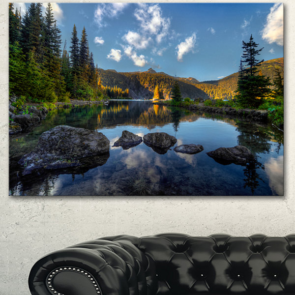 Designart Mountain Lake Surrounded By Trees Landscape Canvas Art Print
