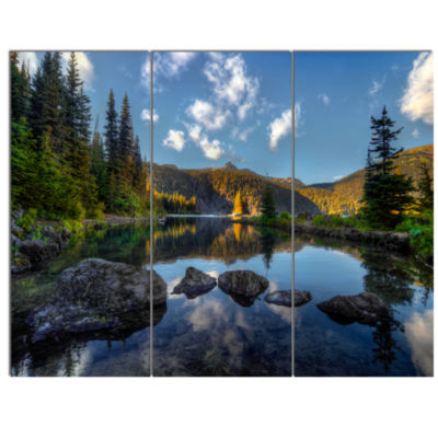 Designart Mountain Lake Surrounded By Trees Landscape Canvas Art Print - 3 Panels