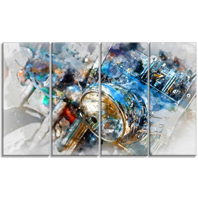Design Art Motorcycle Headlight Watercolor Contemporary Canvas Art Print - 4 Panels