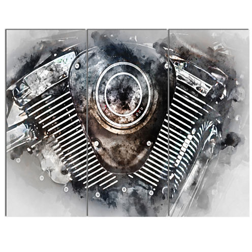 Designart Motorcycle Engine Watercolor Contemporary Canvas Art Print - 3 Panels