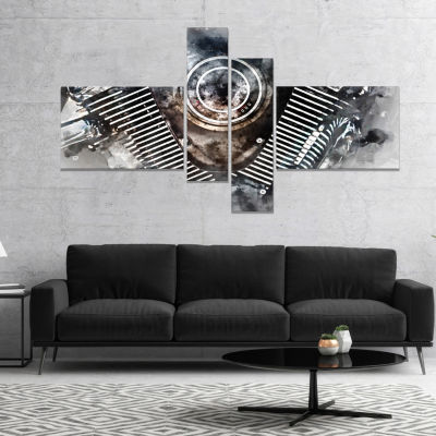 Designart Motorcycle Engine Watercolor Contemporary Canvas Art Print - 4 Panels