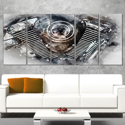 Designart Motorcycle Engine Watercolor Contemporary Canvas Art Print - 5 Panels
